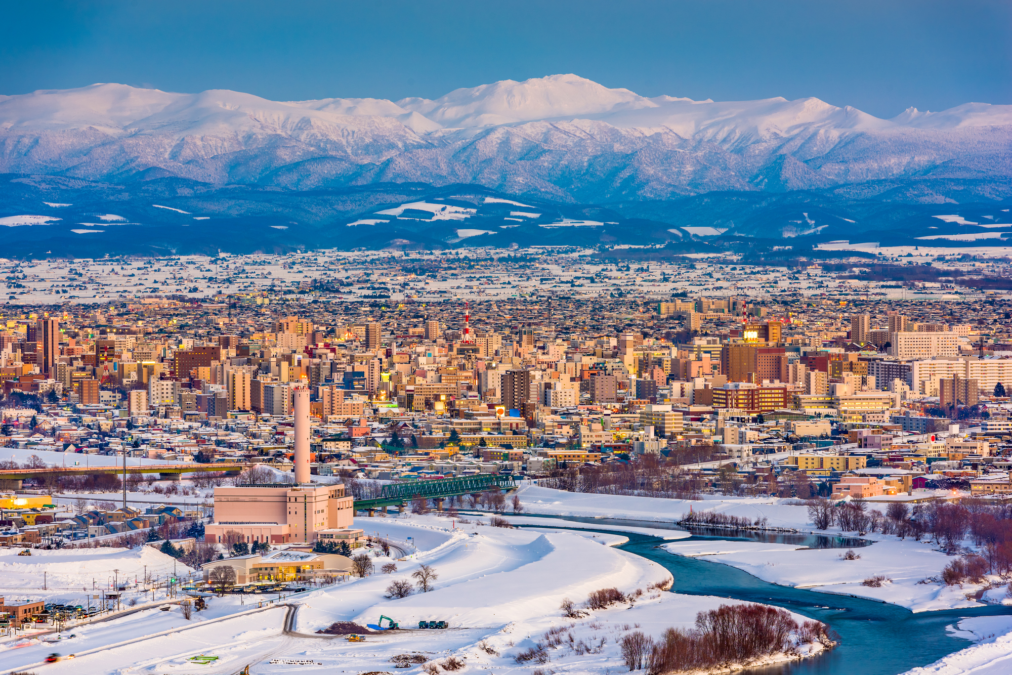 Asahikawa, Hokkaido, Japan Winter Skyline