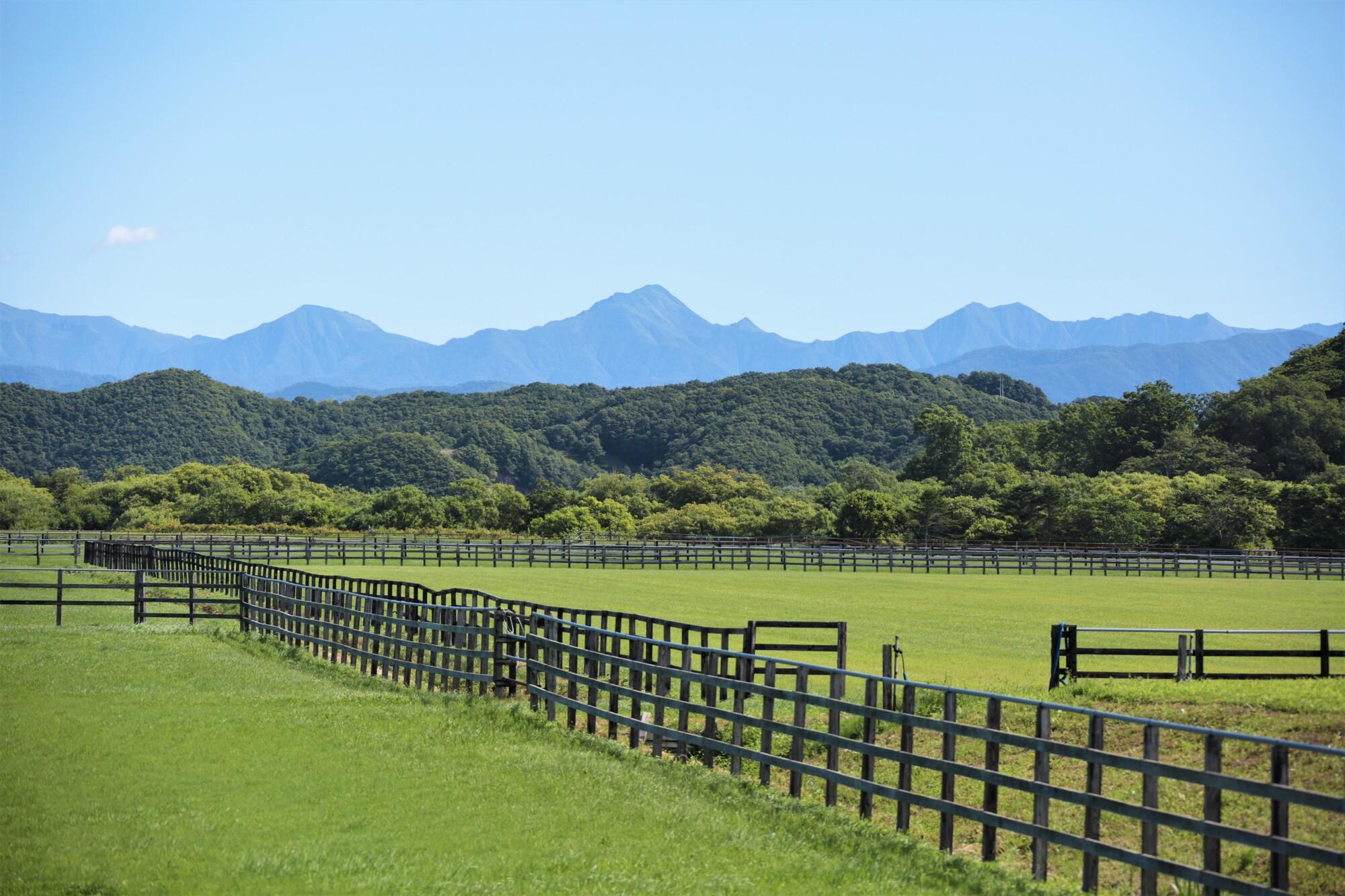 北海道の風景「日高山脈と牧場」(北海道新ひだか町)