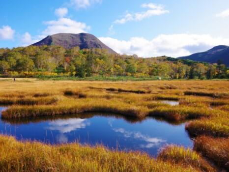 北海道 岩内郡共和町 神仙沼周辺の池塘(ちとう)とチセヌプリ