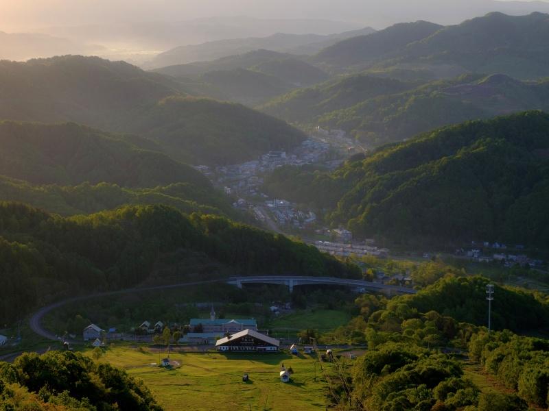 歌志内市かもい岳山頂の朝の風景