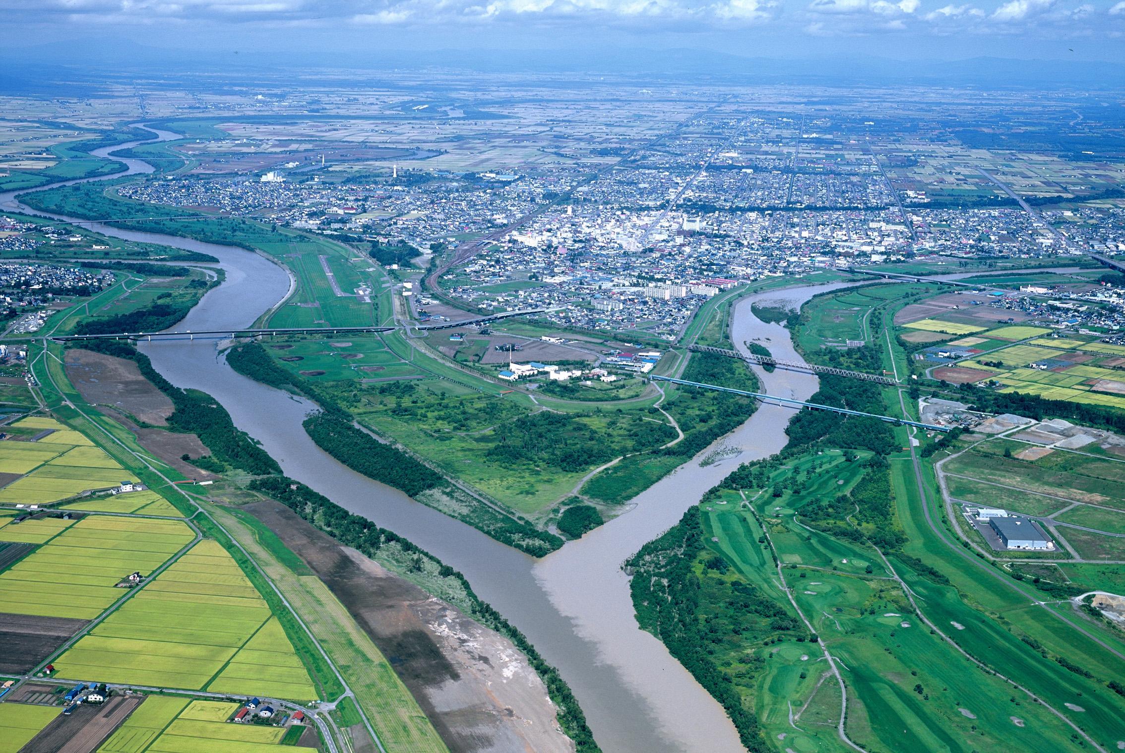 滝川市を上空から見た風景