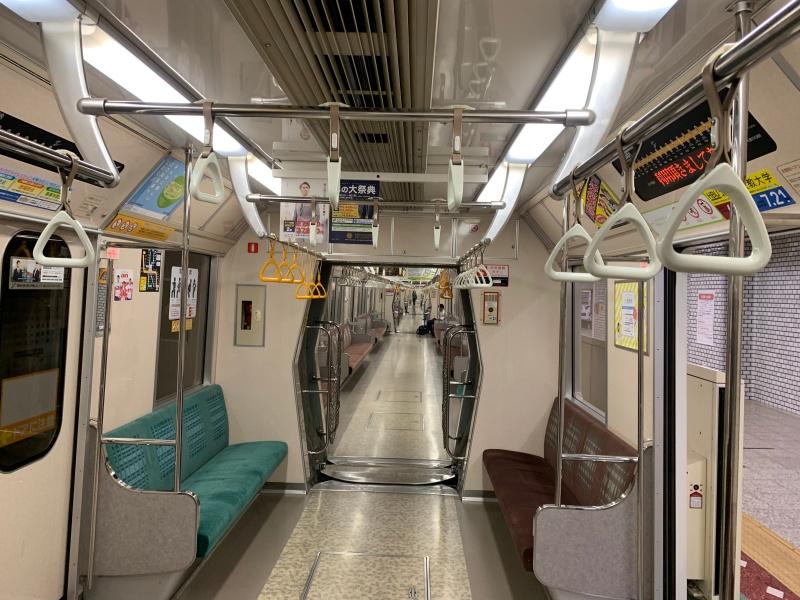 Sapporo city ,Japan : June 9 2019 : Subway in Hokkaido ,a japanese style train