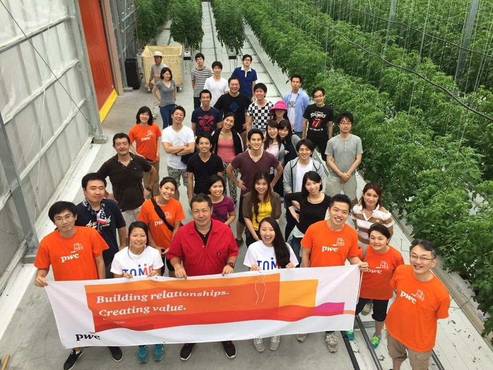 福島出向中にPwCメンバーとトマト農園でボランティア