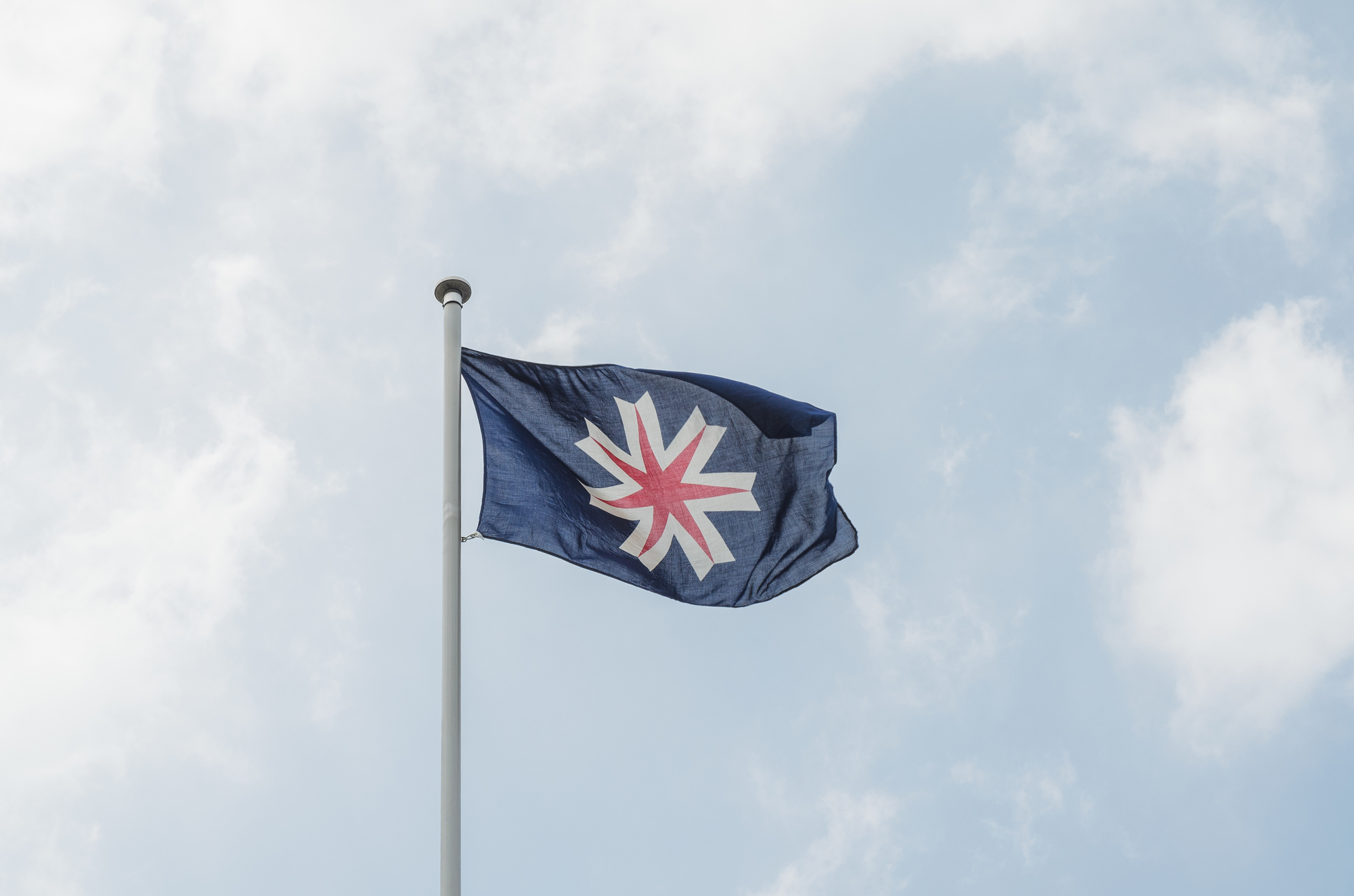 Waving hokkaido flag on pole