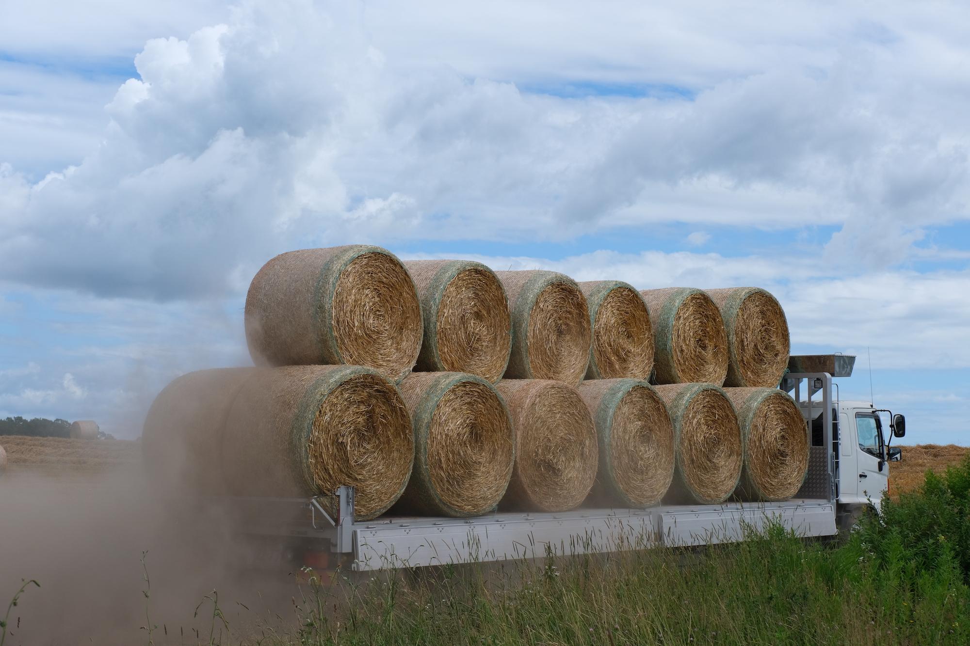 麦稈ロールを運ぶトラック