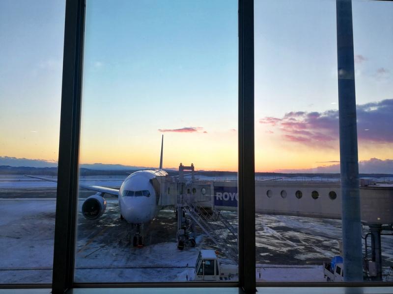 HOKKAIDO,JAPAN- 9 DEC 2018: Airplane ready for departure with sunrise in winter seasons at New chitose airport,Hokkaido,Japan