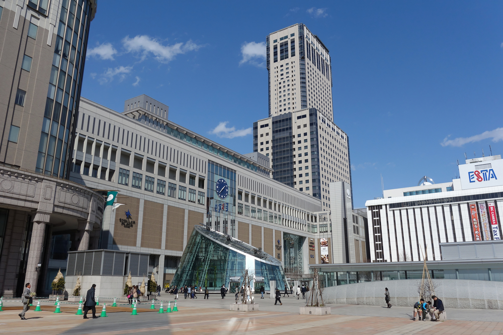 South Side of Sapporo Station, Hokkaido, Japan - 2016 Spring : Sapporo station is the main station for JR train, subway and bus in Sapporo and nearby provinces in Hokkaido, Japan.