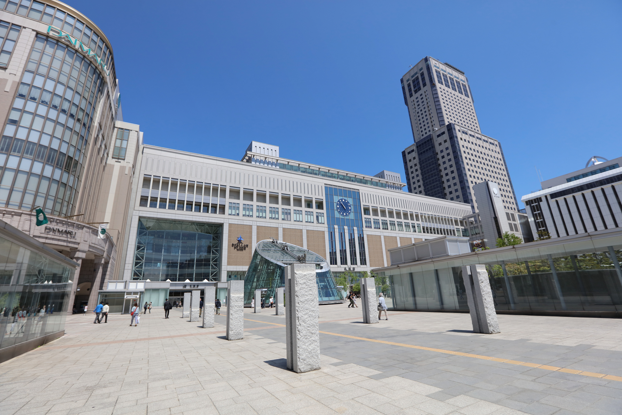 plaza of Overlook the city of Sapporo station