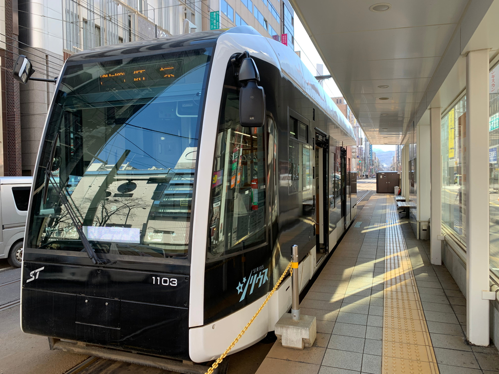 Sapporo city/Japan:March 19 2020 Tram or street car in downtown Sapporo.