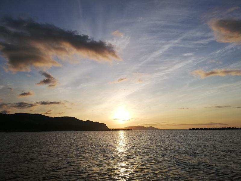銭函海岸 沈みゆく夕日