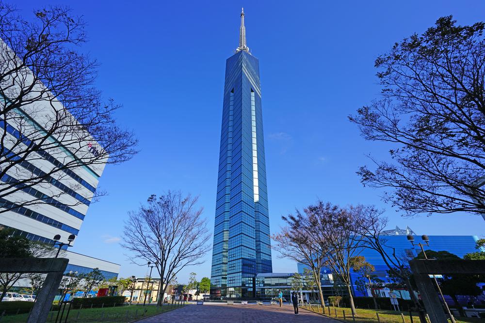 FUKUOKA, JAPAN -5 NOV 2017- View of the Fukuoka Tower, a tall skyscraper building located in the Momochihama area of Fukuoka, Japan.
