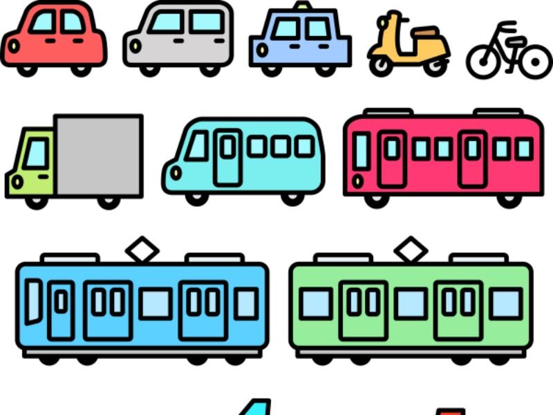 乗り物の線画イラストセット