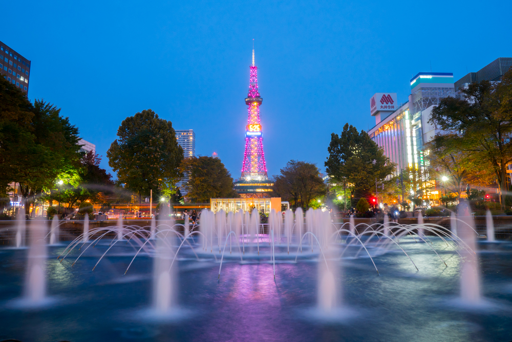 Sapporo, Japan - Oct 7, 2017 - Television tower at Odori Park at twilight, Sapporo, Hokkaido, Japan.The Sapporo TV Tower built in 1957.