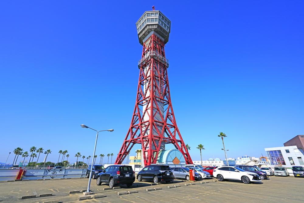 FUKUOKA, JAPAN -5 NOV 2017- View of the Hakata Port Tower, a red lattice metal observation tower in the Hakata district of Fukuoka, Japan.