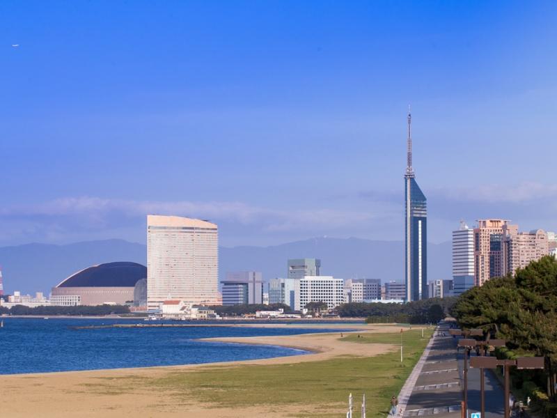 Fukuoka city scape and landmarks over ocean