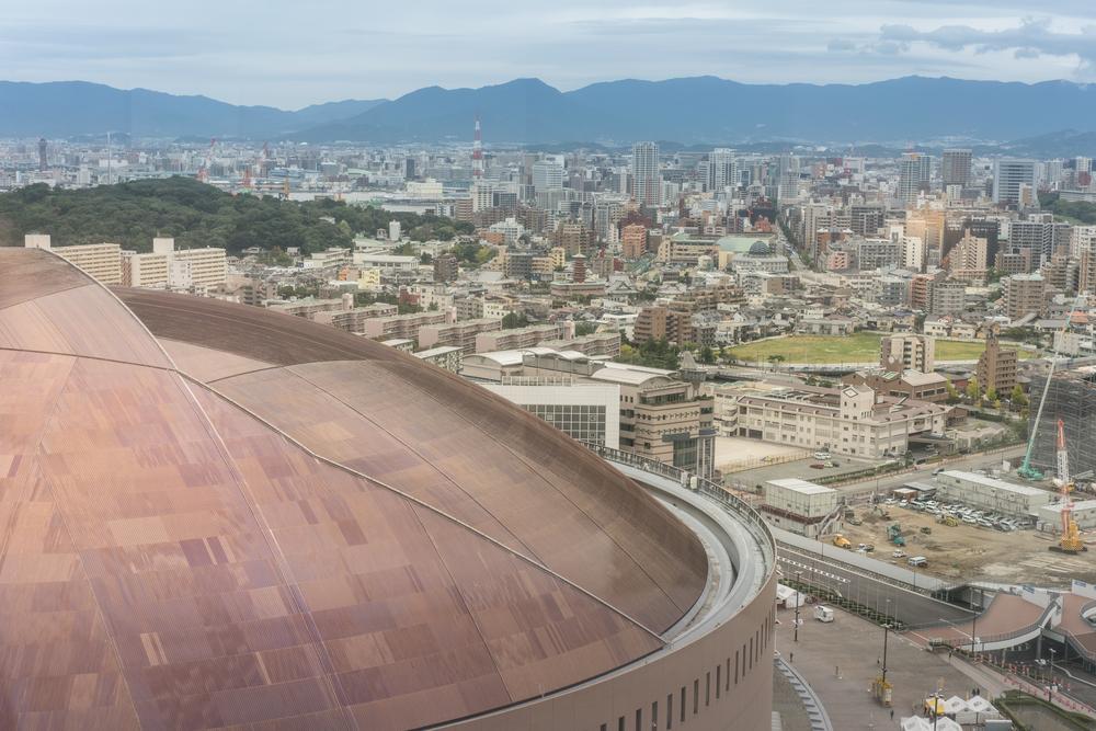 FUKUOKA/JAPAN– OCTOBER 21, 2017:The Fukuoka Yahuoku Dome is a baseball field, located in Fukuoka. Softbank HAWKS is the only team of the Kyushu based in Fukuoka, its home ground is FUKUOKA YAHUOKU.